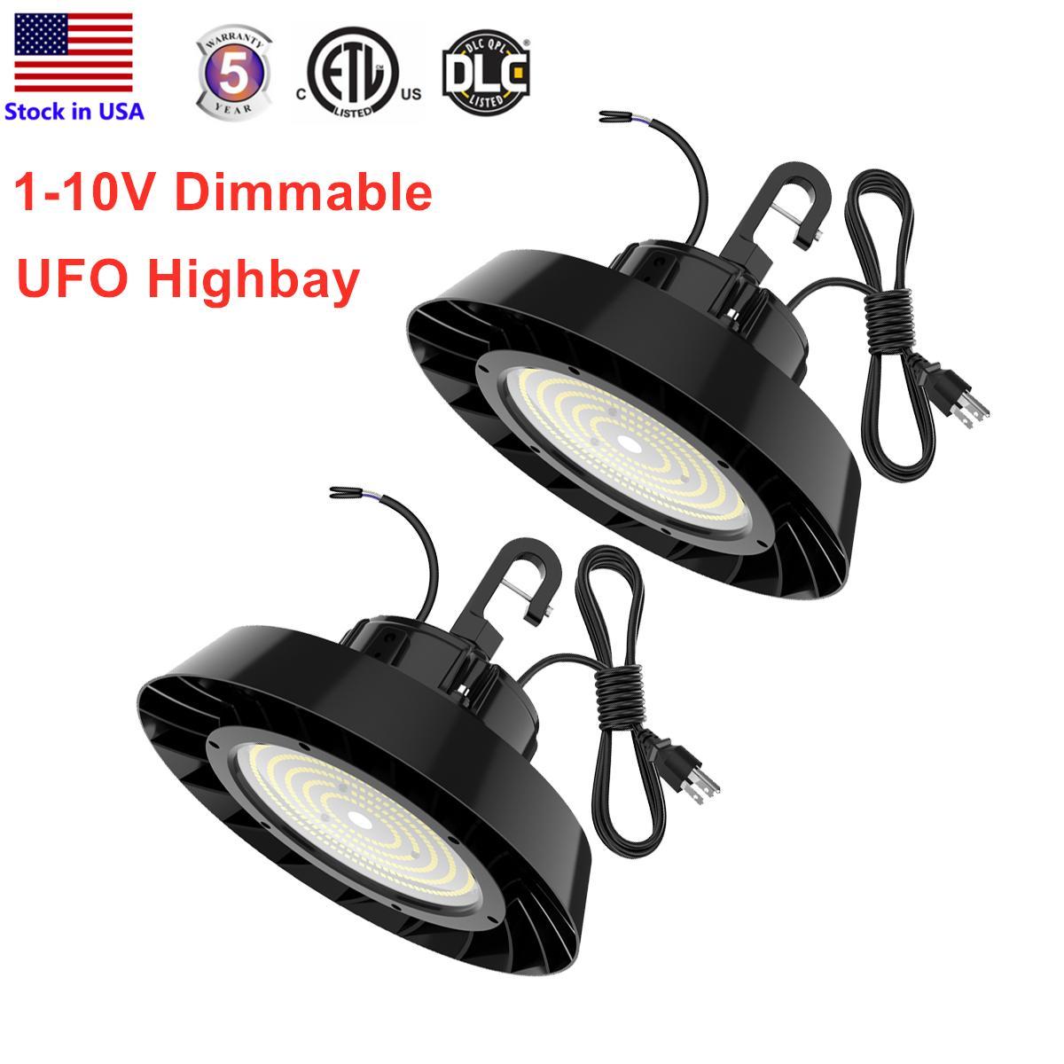 LED العالية خليج ضوء 150W 200W 240W 5000K 1-10V عكس الضوء ETL DLC المعتمدة هوك بقيمة 5 'كابل IP65 للماء ورشة الصناعية