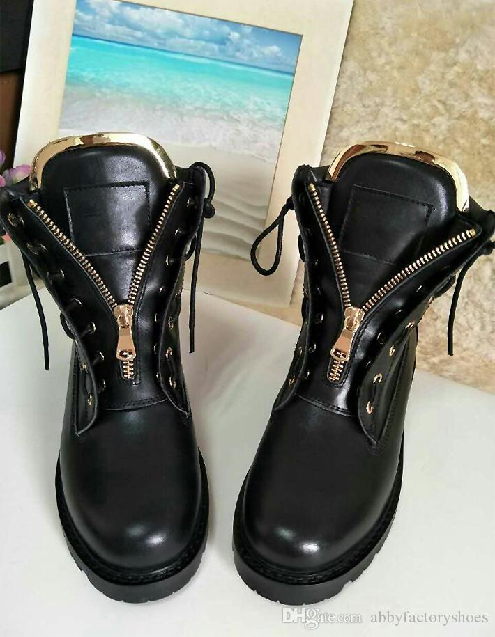 2017 Otoño Invierno Laiga cuero de los cargadores del tobillo del terciopelo de metal ojales Zip de combate de la motocicleta Zapatos botines pista alto de las mujeres Top Flats Negro Rosa