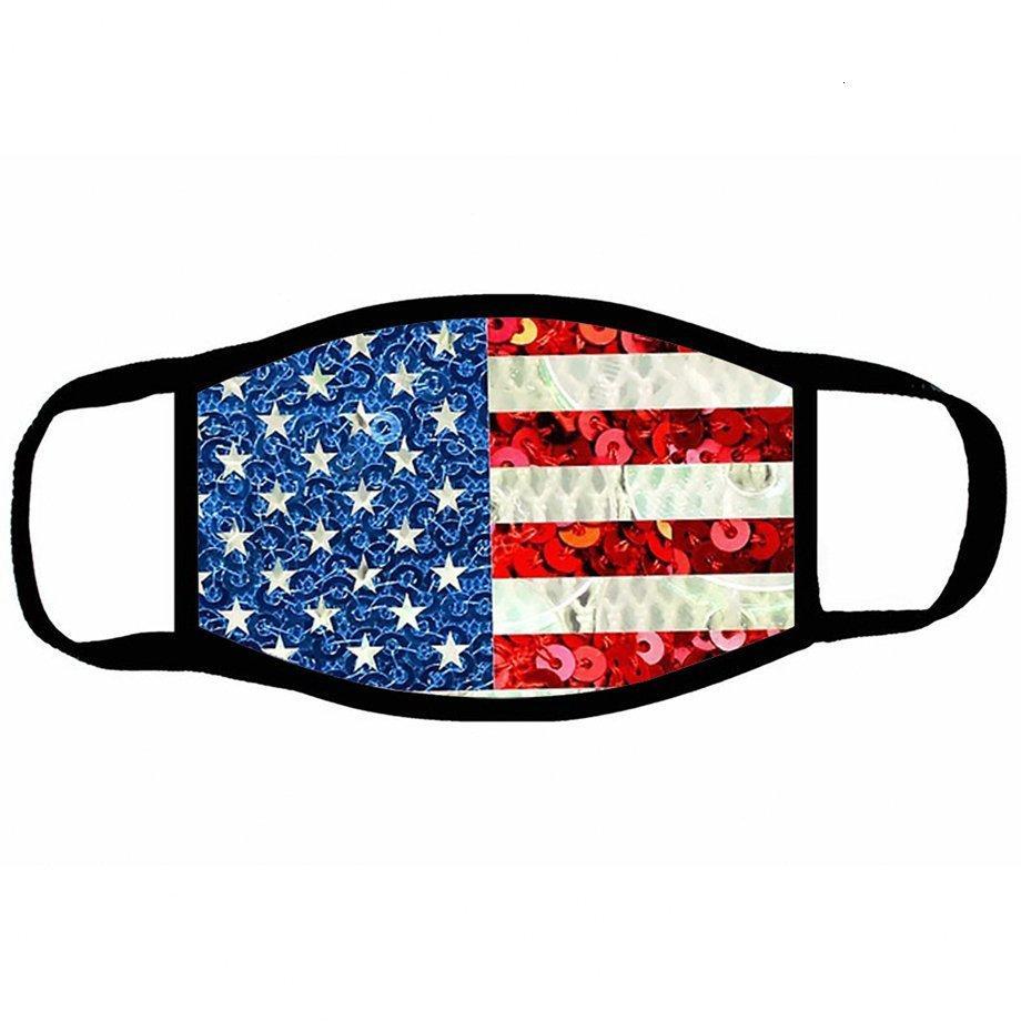 Printed Amerika-Flaggen-Gesichtsmaske Cartoon Wiederverwendbare Usa 3d Leopard-Tierantistaub Waschbar Außenmund Cover Designer Masken Ljja Ewou # drucken