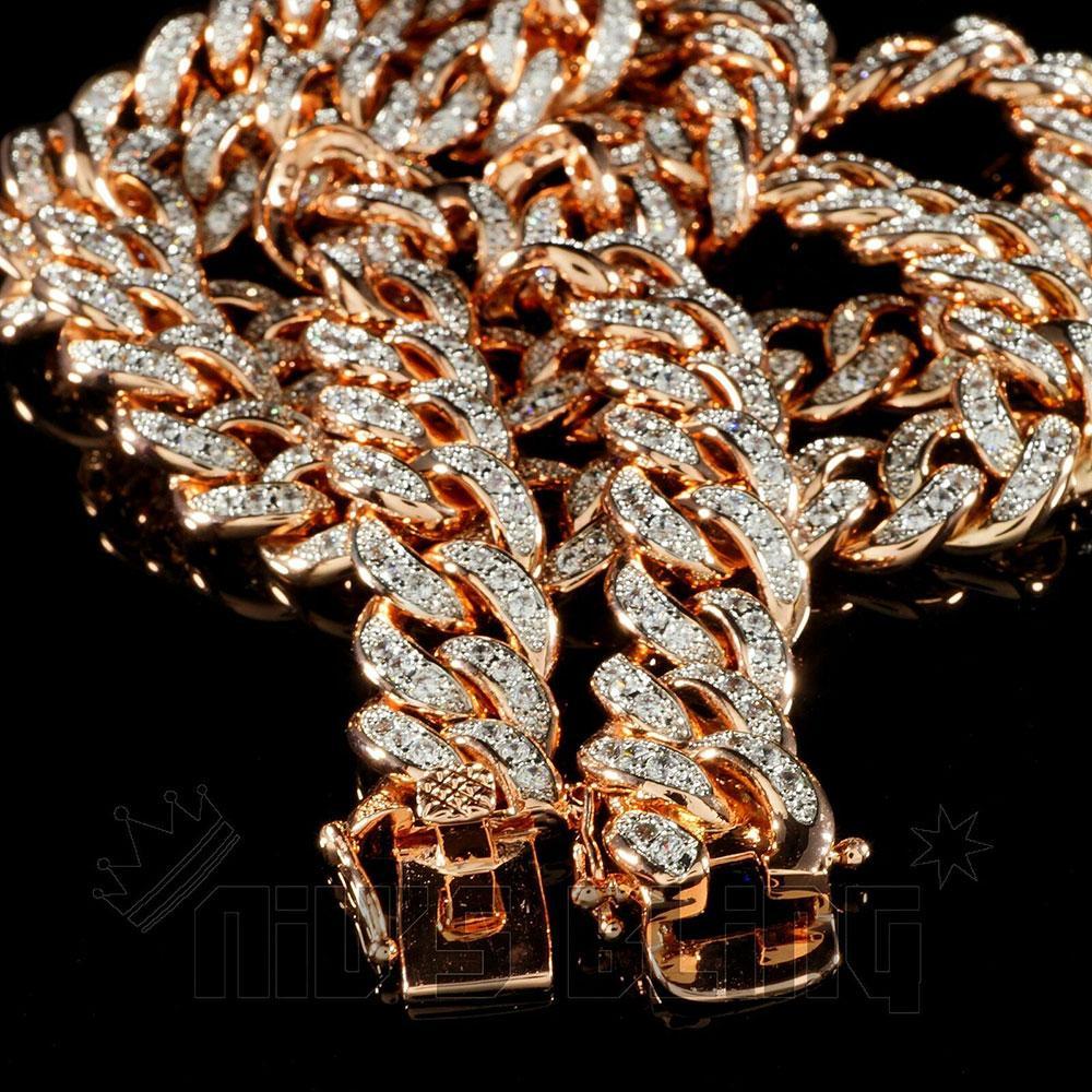 Cadena de oro de 18 quilates de diamantes de laboratorio cubano Enlace Micro Pave Miami Bling helaron hacia fuera el collar de 12 mm Anchura circón cúbico de oro rosa Cuabn Chian