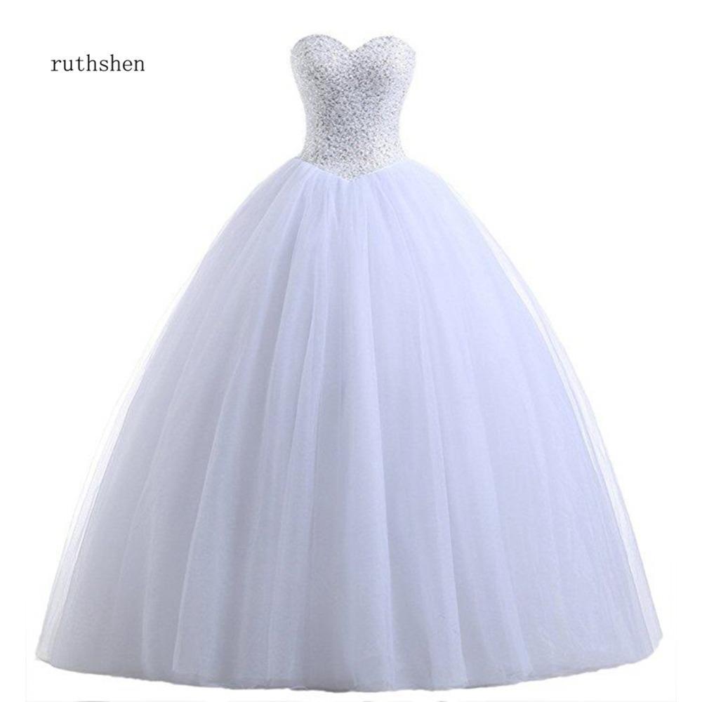Echtes Foto Billig Ballkleid Brautkleider Princess Korsett Pailletten Perlen gefaltete Tüll Weiß Elfenbein Plus Größe Vestido de Noiva