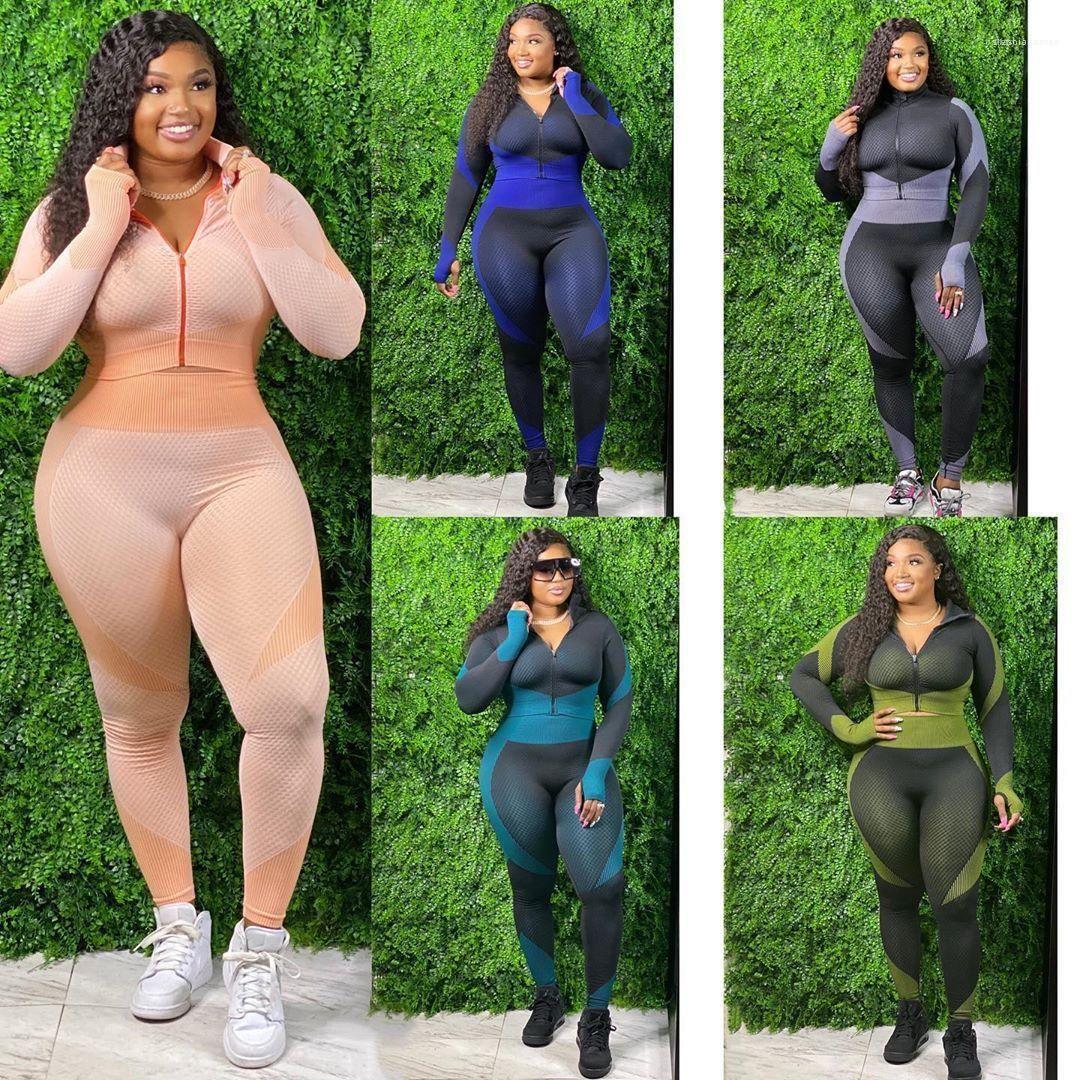 Color Zipper Casual Yoga Suits Womens Clothing 2 Piece Set Autumn Winter Womens Designer Tracksuits Long Sleeve Lapel NecK Contrast