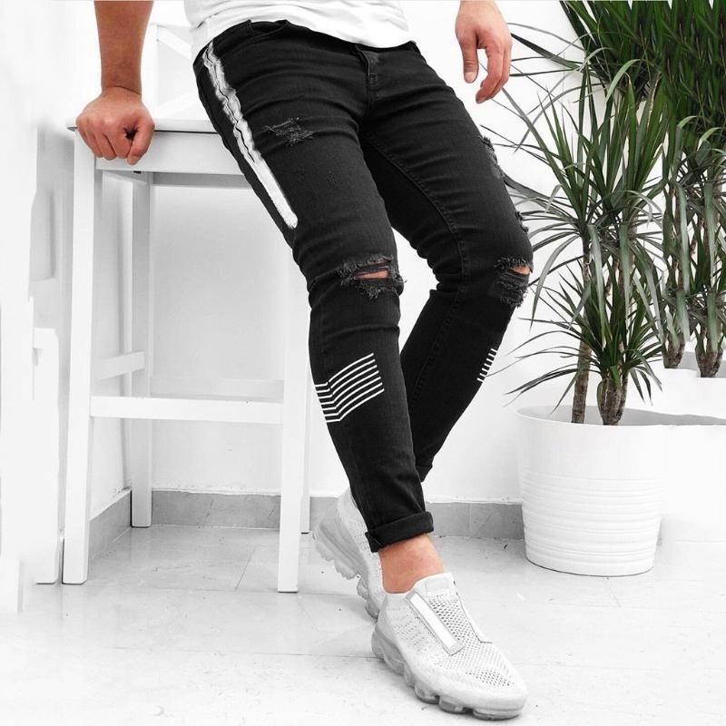 Ripped jeans para hombre del dril de algodón de los hombres Negro Jean Homme Harem Hip Hop tamaño extra grande de modas Pantalones para hombre del basculador de los pantalones El nuevo Uomo