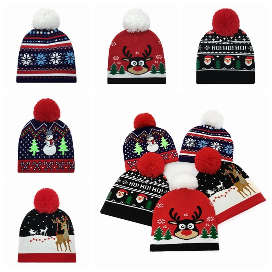 Christmas Beanies Hat Wool Knitted Kid Pom Pom Elk Santa Hats Baby Winter Warm Outdoor Cap Xmas Child Knitting Caps SEA SHIPPING LJJP514