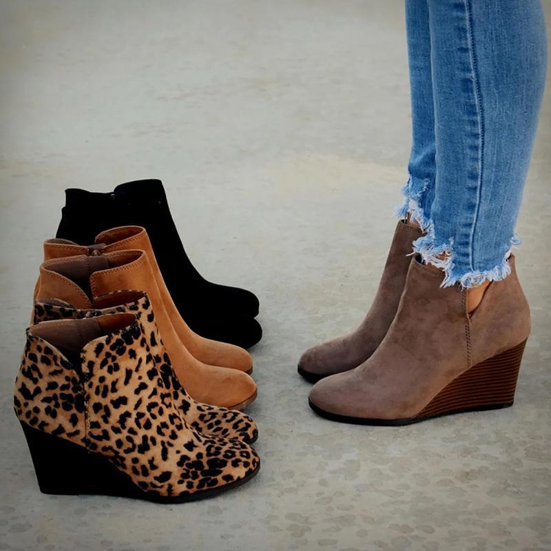 Botines de punta de punta Mujeres de invierno Botas de tobillo de leopardo Plataforma de cordones Tacones altos Tacones Altos Cuñas Zapatos Mujer Bota Feminina LJ200904