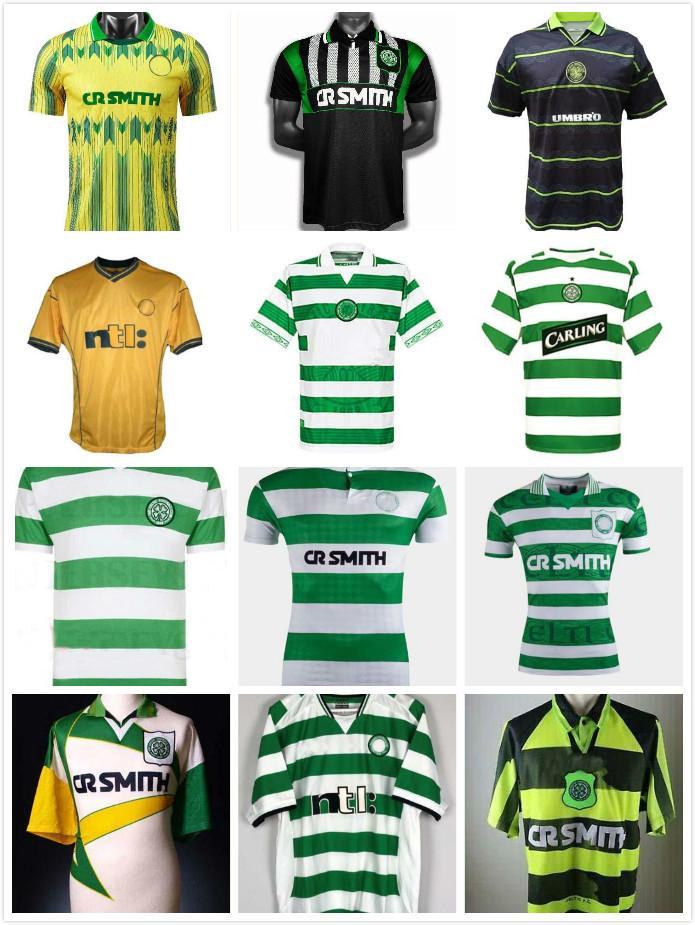 retrò 1980 1991 1992 1995 1997 1998 1999 celtiche pullover di calcio 95 96 97 99 LARSSON NAKAMURA KEANE 91 92 giallo maglie da calcio celtiche Sutton