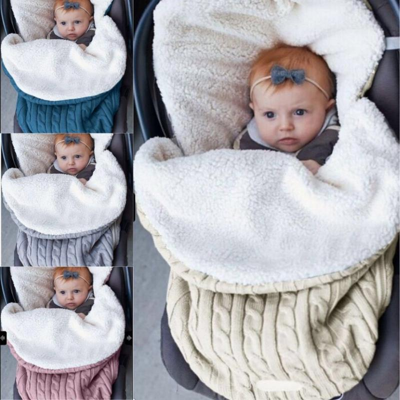 Autumn and Winter Baby Swaddle Sleeping Bag Wool Knit Plus Velvet Baby Thick Warm Soft Comfortable for Infant Stroller Blanket