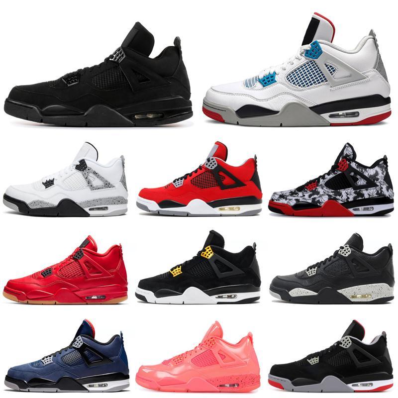 yüksek Qaulity 4s basketbol ayakkabıları 4 yetiştirilen Bekarlar Günü Kara Kedi neon Wings Soğuk Gri dövme neyi erkek eğitmenler spor ayakkabı 7-13