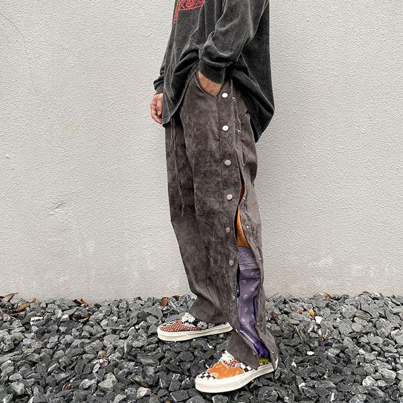 High Street Yan Düğme Baskı Süet Baggy Pantolon Erkek İpli Düz Gevşek Casual Pantolon Hip Hop Oversize Pantolon