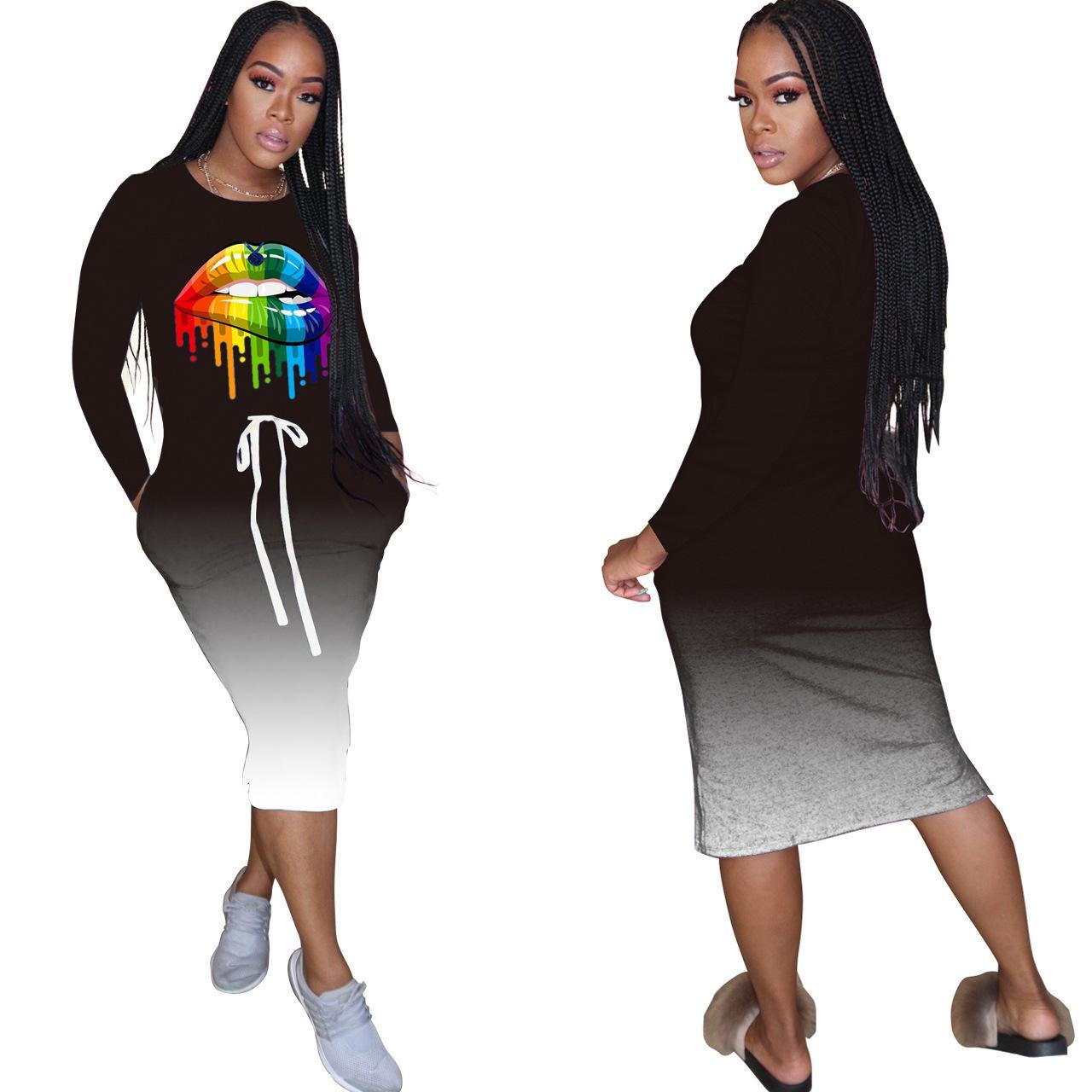 캐주얼 드레스 그라데이션 입 2020 년 가을 드레스 졸라 매는 끈 여성 크루 넥 전체 슬리브 Vestidos 캐주얼 포켓 클럽 파티 드레스를 인쇄 여자
