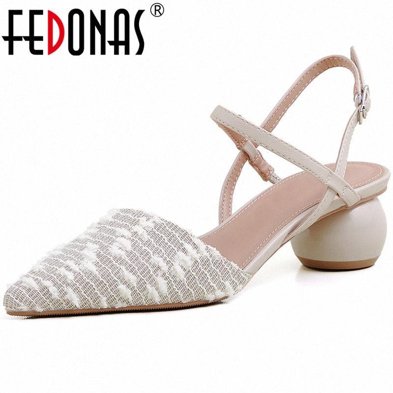 Fedonas Pointed Toe bege Mulher sapatos de couro genuíno saltos altos das senhoras Sandálias Popular Patchwork Escritório Wedding Shoes Mulher vdso #