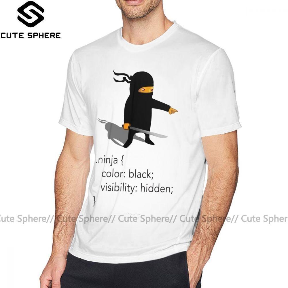 Ninja Tişörtlü Geek Tee CSS Şakalar Ninja Tişört Oversize Kısa Kollu Tee Gömlek Komik Pamuk Casual Man Baskılı Tişört