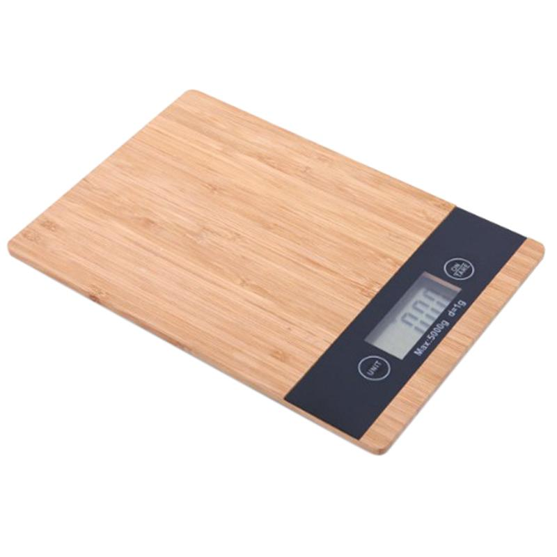5000G/1G 5Kg Wood Bamboo Hd Lcd Display Digital Scale Multi-Function Hd Lcd Display Electronic Balance Auto Off