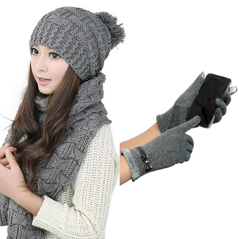 1Pcs inverno donne lavorato a maglia sciarpa e cappello Set addensare Skullcaps 1 paio Press Guanti Guanti invernali caldi Mittens di Press S