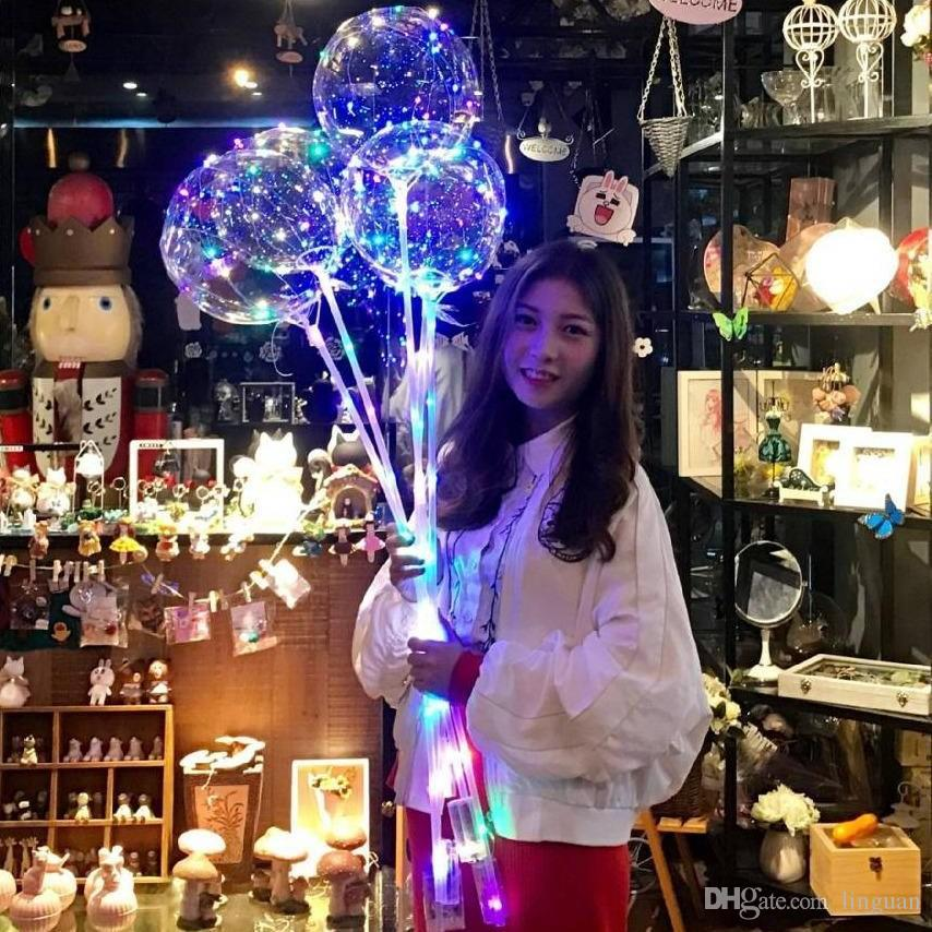 LED BOBO Balon ile 31.5 inç Sopa 3 M Dize Balon LED Işık Noel Cadılar Bayramı Doğum Günü Balonlar Parti Dekor Bobo Balonlar DHL Ücretsiz