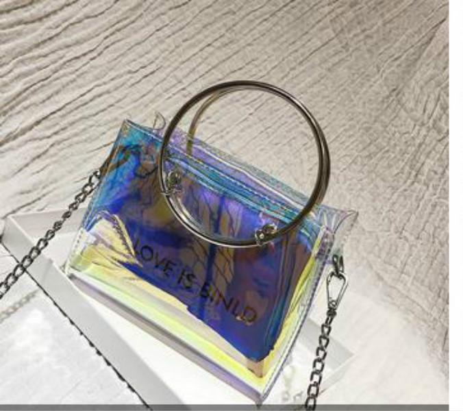 Super Feuer Jelly Transparent Kleine Tasche weiblich 2020 Sommer New Tide Ring Wilde Fee Messenger-Ketten-Beutel