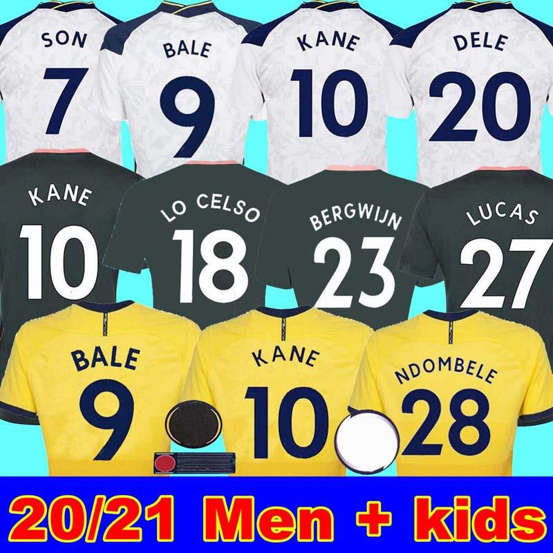 20 21 BALE 9 KANE SON BERGWIJN NDOMBELE LO CELSO لكرة القدم الفانيلة 2020 2021 LUCAS DELE TOTTENHAM جيرسي لكرة القدم عدة رجال قميص + KIDS KIT
