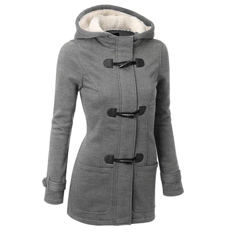 Casual Outwear Autumn Winter Hooded Sweatshirts Women Horn Button Fleece Hoodies Long Sleeve Hooded Coats Slim Fit Hoodies T200917