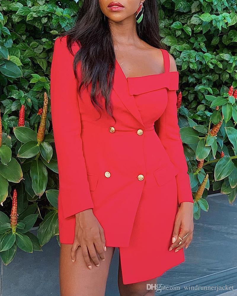 Designer Vestidos Asymmetric Declive Shouder Slimming Suit Vestido Moda Personalidade Casual mulheres vestidos das mulheres novas chegada