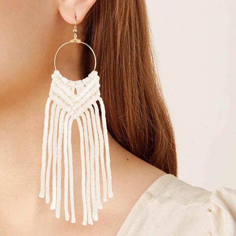 Hand gewebt Ohrringe Baumeln und Kronleuchter Frauen Baumwolle Seilknoten Quaste Ohr Tropfen Lange Fransen 9 Farben Großhandel