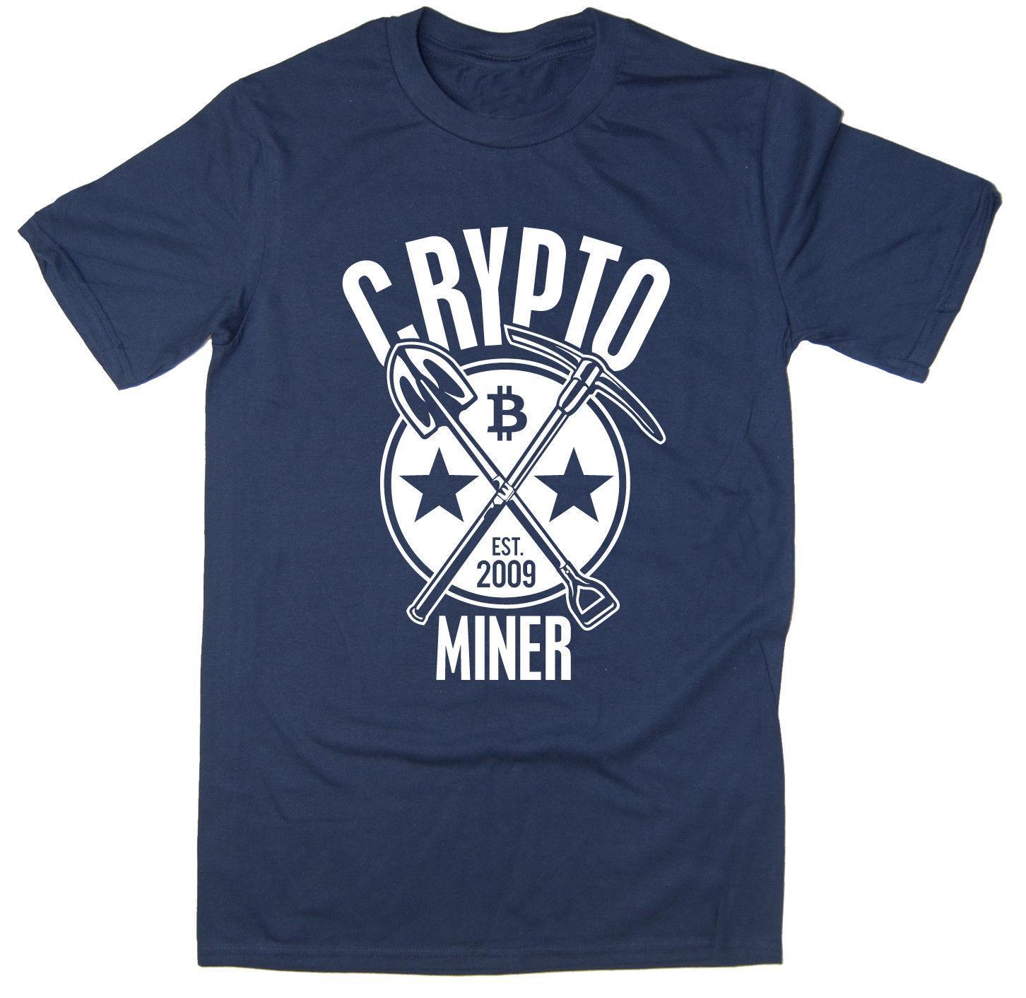 nakliye 2019 Sıcak satış Ücretsiz Kripto Miner Tişört - BTC ETH LTC Cryptocurrency Bitcoin - 6 renk