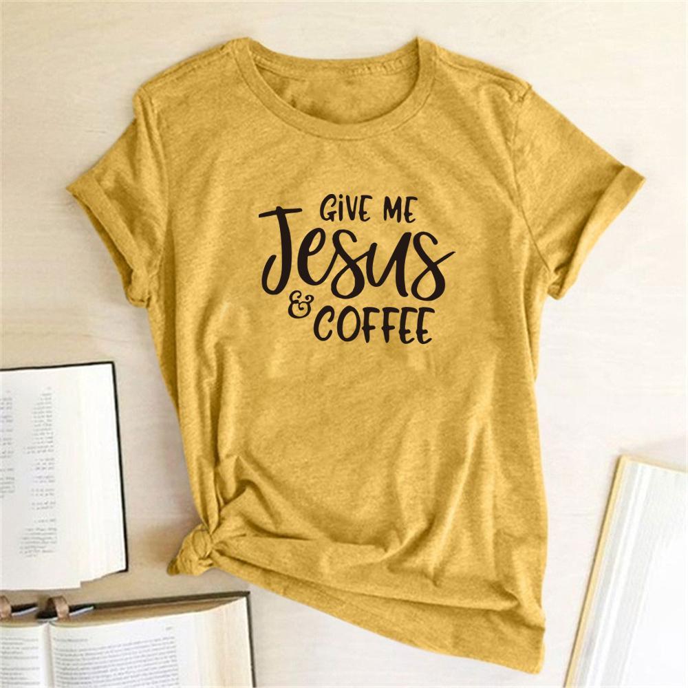 Dê-me Jesus café imprimiu camisetas Mulheres Roupa Verão 2020 Camisas para mulheres soltas O Neck Harajuku Top Femme Camisas Mujer
