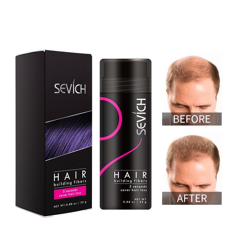 OEM Etiqueta Privada Keratin Hair Building Fibra Fibra Desfilamento Perda Corretivo Instant Styling Pó Sevich 25g