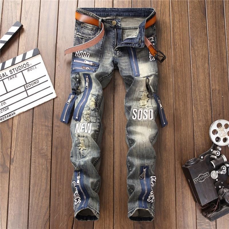 New Zippers Vintage jeans rasgados Homens Letters Bordados Patchwork Washed calças jeans Moda slim Hetero Mens Jeans DS50728
