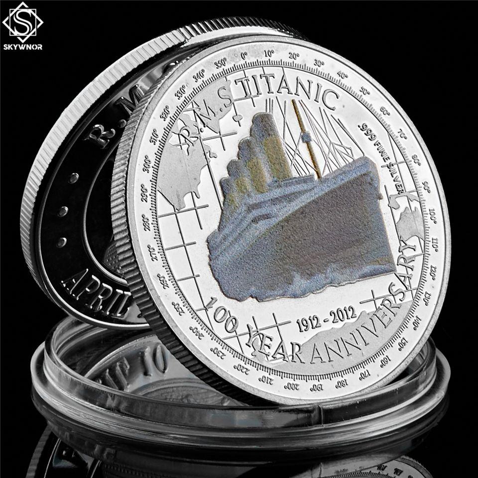 1912 Titanic prata banhado Coin aniversário de 100 anos de memória do RMS Vítimas comemorativa Titanic coleção de moedas