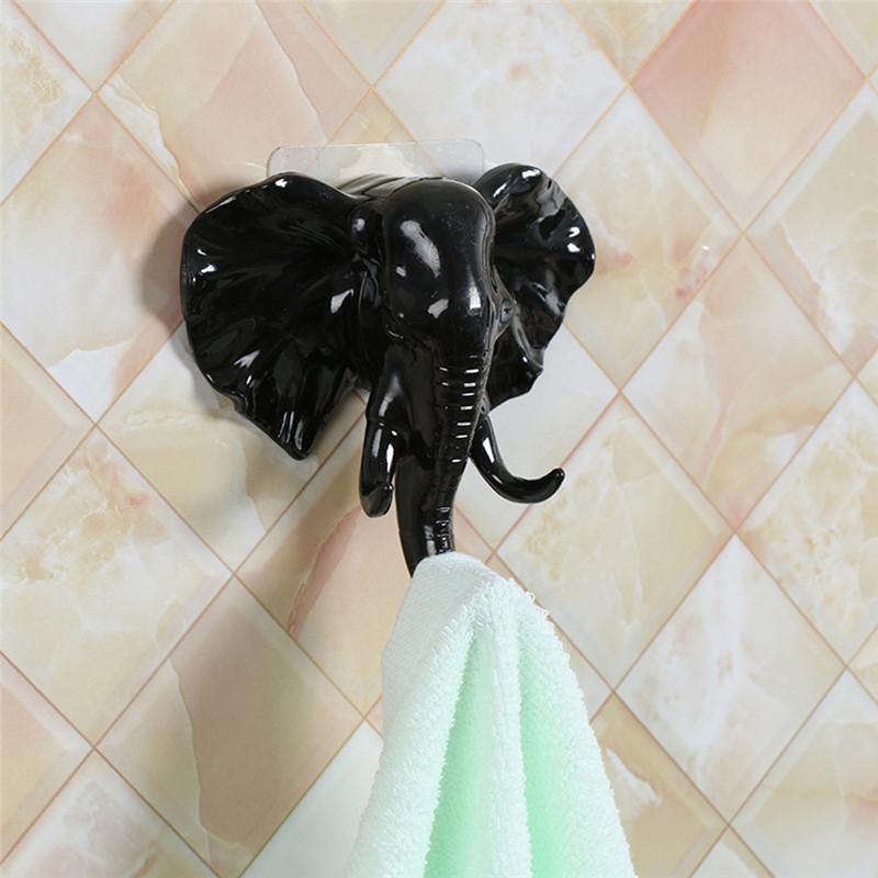 Schlafzimmer Kleiderhaken Elefant-Kopf-Wand Türhaken Self Adhesive Aufhänger-Beutel-Schlüssel Sticky Halter Wohnzimmer Schlafzimmer Mantel