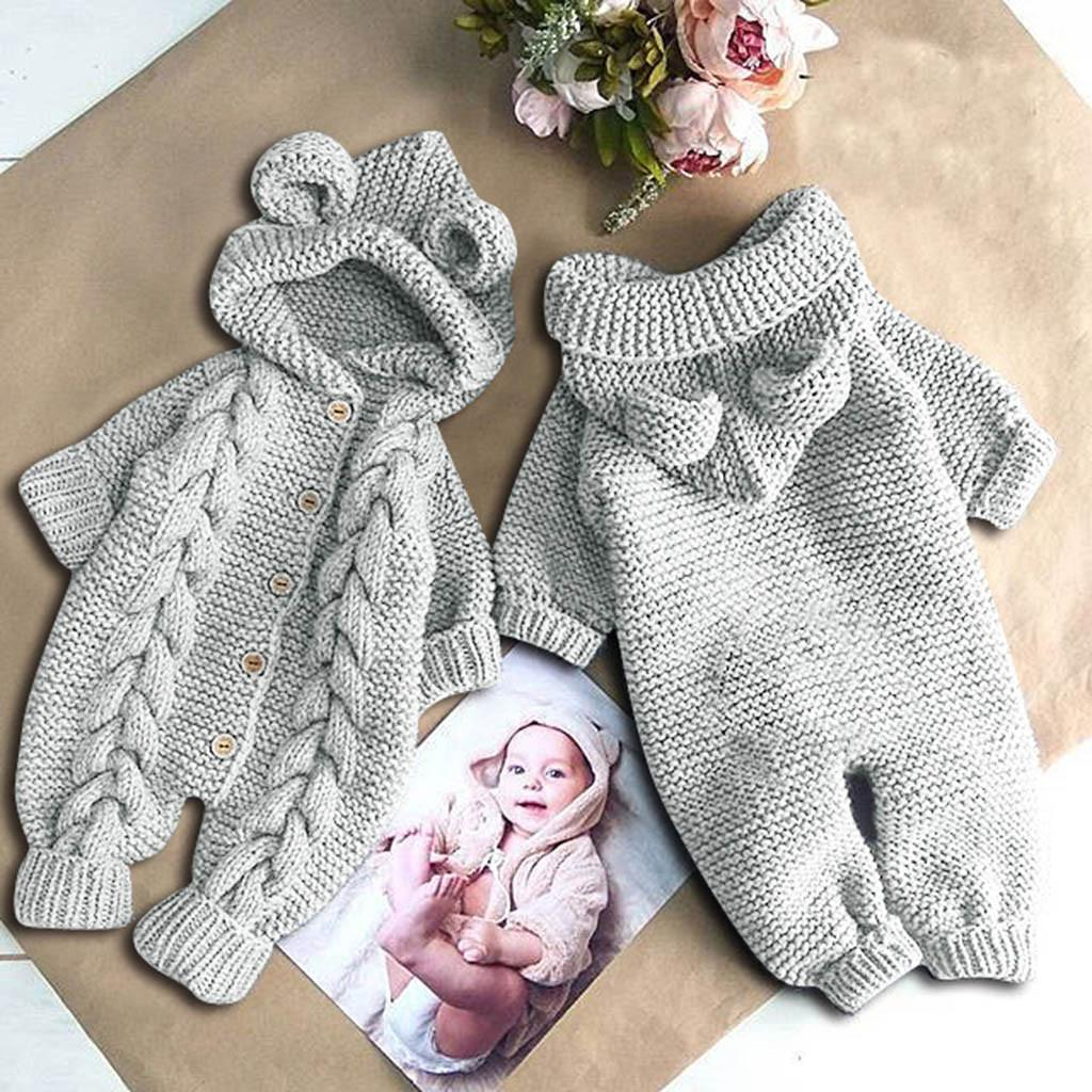 Winter Warm Newborn Baby Girls Boys Rompers Cute Knitted Hoodie Jumpsuit With Ear Long Sleeve Toddler Baby Outfits Costumes