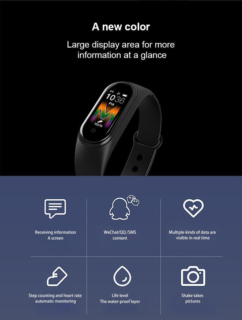 """Smart-Armband für Xiaomi Mi Band 5 1.0"""" AMOLED-bunter Schirm Herzfrequenz Fitness Tracker Bluetooth 5.0 Fitbit Wasserdichtes Miband5"""