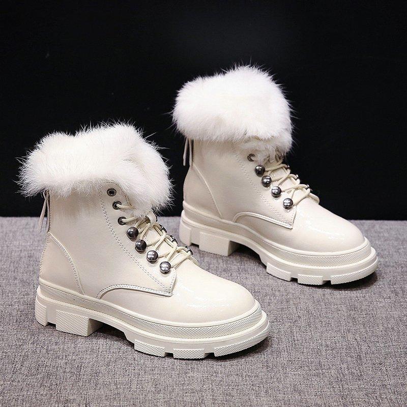 Женщины снега сапоги молния белый кожа короткие сапоги платформы обувь 2020 женщин Мода зима плюшевый черный голеностопного сустава