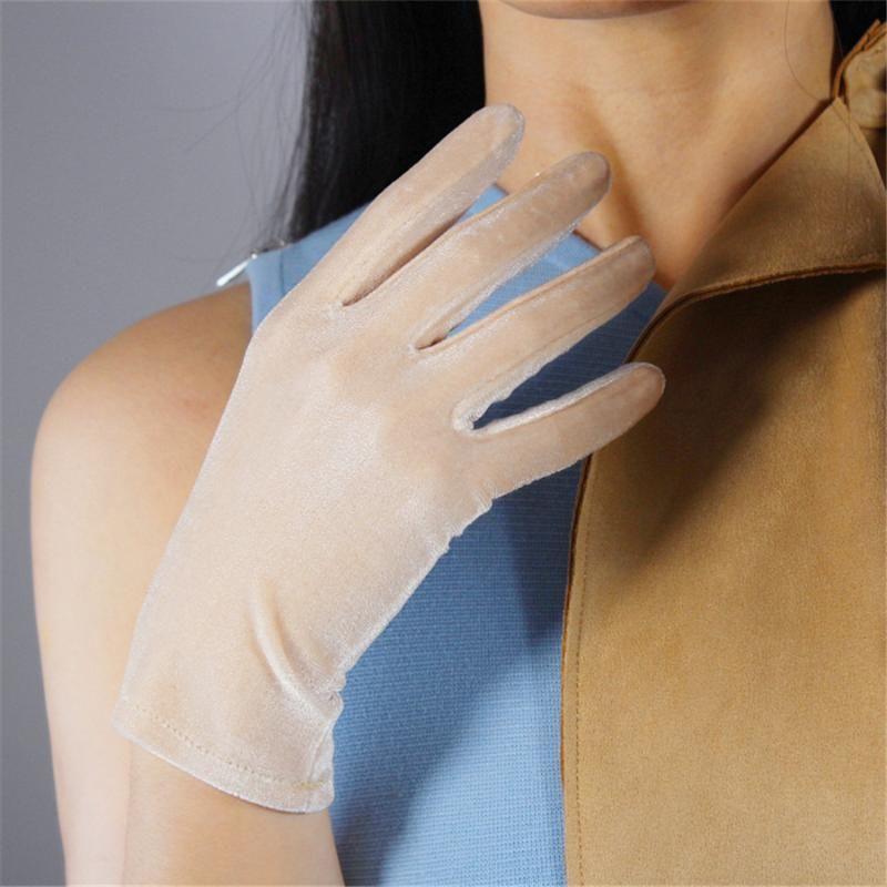 Las mujeres de Velvet guantes 22cm SRJS22 pantalla desnuda del cortocircuito del oro de alta elástico Velvet Touch Oro