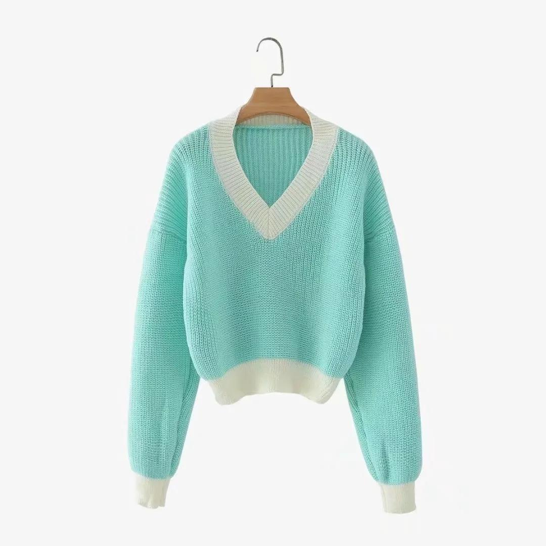 2020 Green Clothing Women Sweater Autumn all new women's fashion casual casual loose retro Jumper v Neck Collision Color sweater short hair