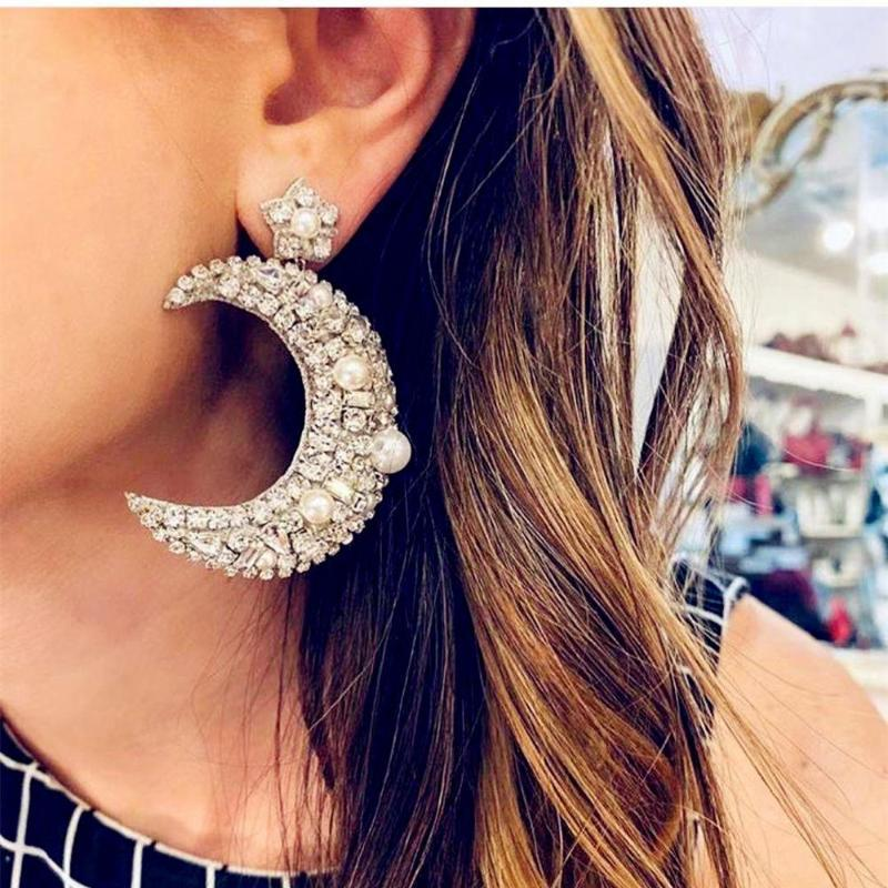 Dichiarazione di gioielli di stile della Boemia strass pendente della luna ORECCHINI Maxi Lady degli accessori degli orecchini esagerato