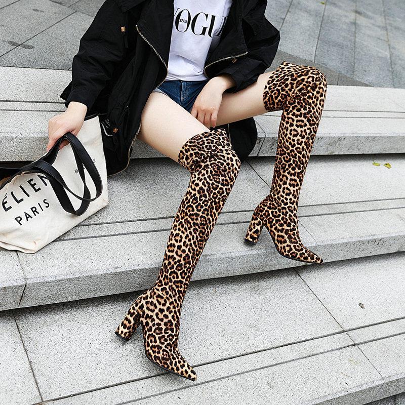 Bling leopardo Calze Stivali Donne sopra il ginocchio alto stivali Plus Size tacco alto Calzature Donna Autunno Inverno lungo caldo