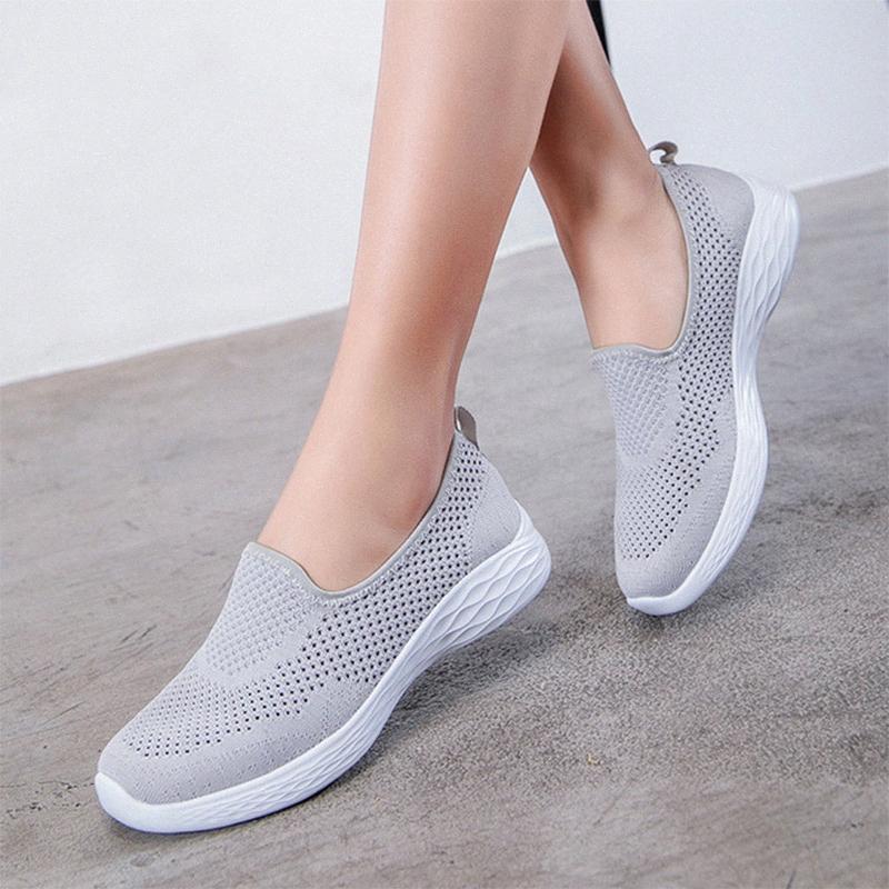 Zapatos para mujer de las zapatillas de deporte 2020 vulcanizados de malla transpirable Walking Slip Hembra ocasional en Damen Pisos suave ligero de la mujer calzado caliente RS6F #