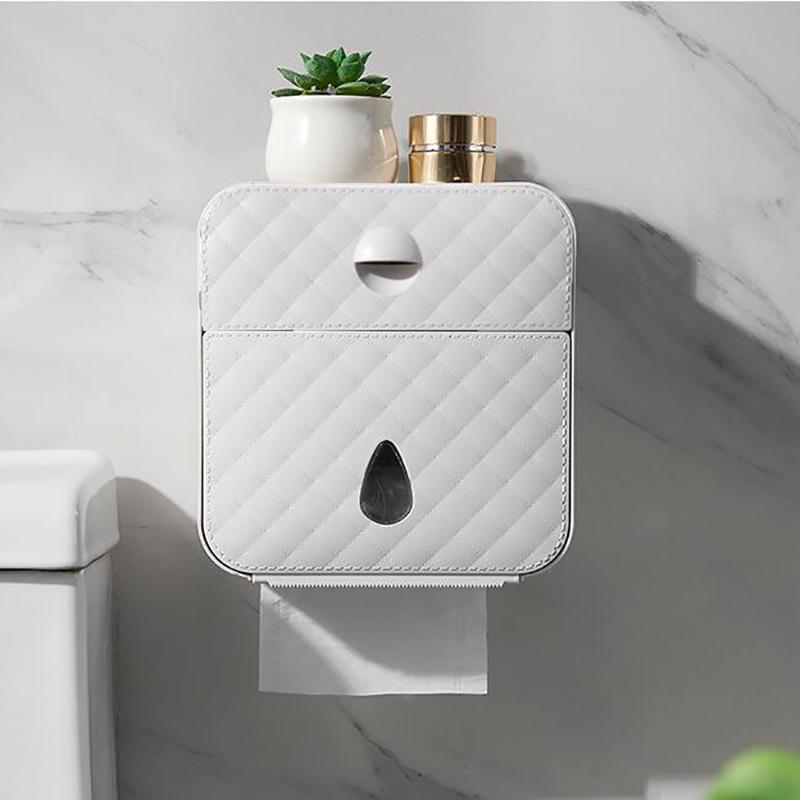 Multifonctionnel Porte-papier hygiénique étanche mural toilettes Punch sans papier Boîte de rangement