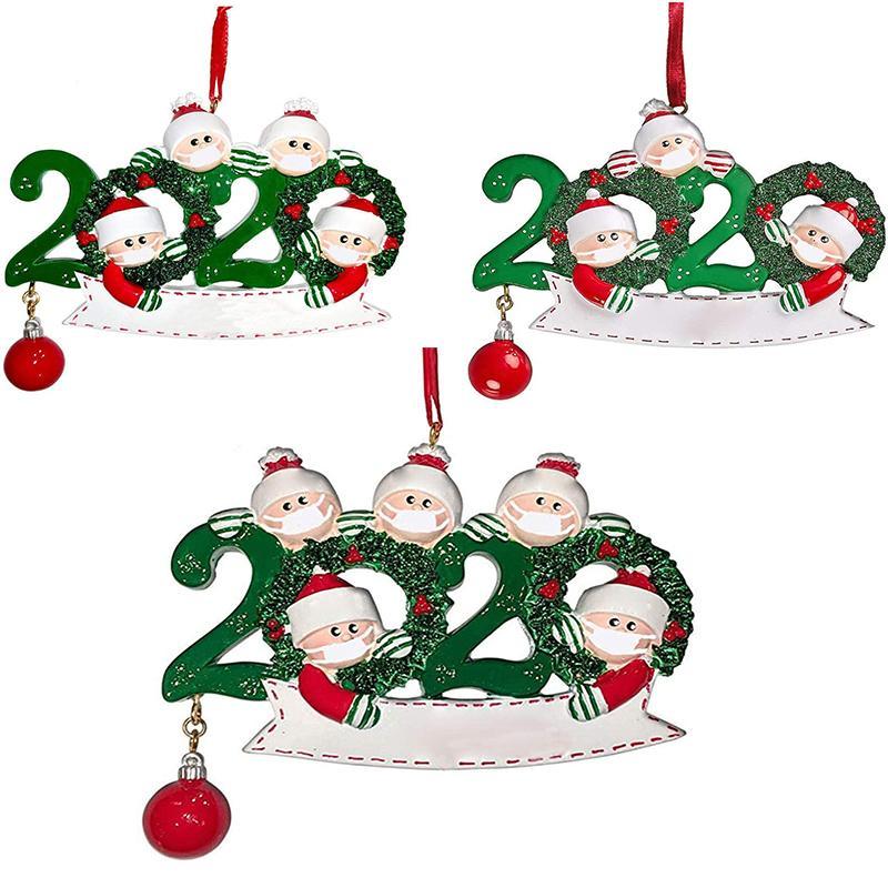 Survivor quarantaine de Noël Bonhomme de neige Ornements De famille de 3 4 5 masques visage main aseptisée décoration Jouets créatifs