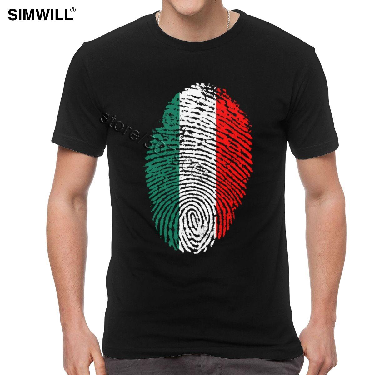 Marca Italia Fingerprint T-shirt para Homens Impresso 100% camisas de algodão T S T-Shirt Pescoço Manga Curta Retro Orgulho Nacional