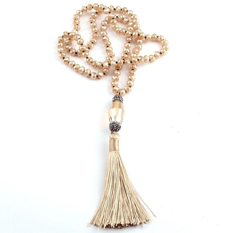 Frete grátis, moda jóias Bohemia, mão atada Bege Cristal, pavimentada borla cristal para mulheres