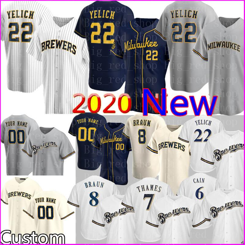 2020 Nuovo 22 Christian Yelich Jersey Personalizzato Ryan Braun Robin Yount Eric Thamames Travis Shaw Lorenzo Cain Jonathan Lucroy Keston Hiura Baseball