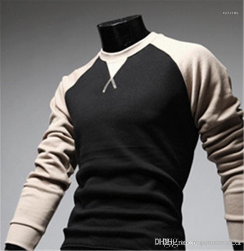 Shirts Casual cor sólida Crew Neck Euramerican manga comprida T-shirt dos homens European American Designer T-shirt dos homens Autumn Designer