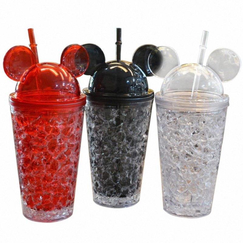 Moda Çift Straw Buz Boles Karikatür Big Ears Fare Sevimli Yaz Soğuk İçecekler Plastik Buzlu Süt Suyu Kahve Drinkware otdh #