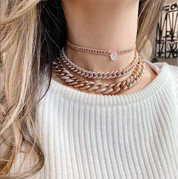 les femmes choker plusieurs couches large Curb collier lien cubain or or rose amour coeur Starburst Northstar cz bijoux de petite amie