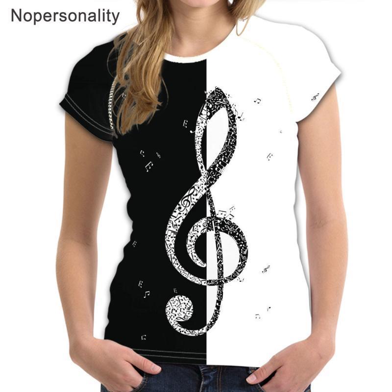 Nopersonality Musik Hinweis Design Sommer-T-Shirt Frauen Kurzarm T-Shirt Shirts Klavier / Gitarre Print T T-Shirts Damen Kleidung