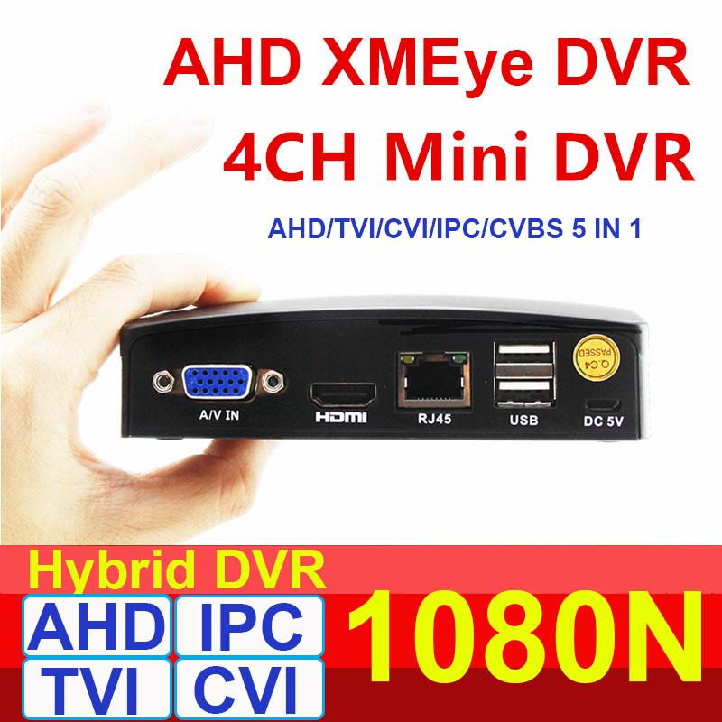 1080P AHD-N super mini dvr 4channel CCTV AHD DVR Híbrido NVR 4 In1 gravador de vídeo para AHD IP CVI TVI Câmeras Analógicas