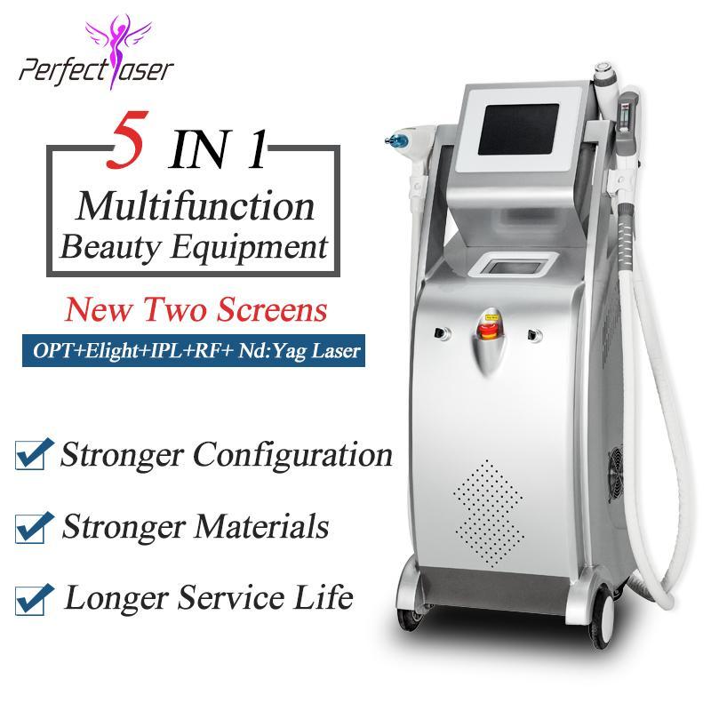 2020 migliore macchina laser IPL + OPT SHR dluce + Nd Yag Laser + RF 5 in 1 laser di rimozione dei capelli della macchina del tatuaggio di bellezza di rimozione