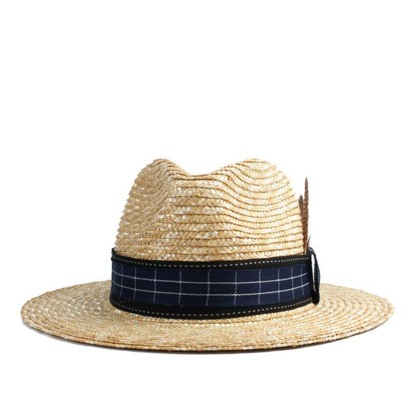 Natural palha de trigo Mulheres Panama Hat Sun Lady Hat Verão Aba larga barqueiro Jazz Praia Sunhat Tamanho 56-58cm